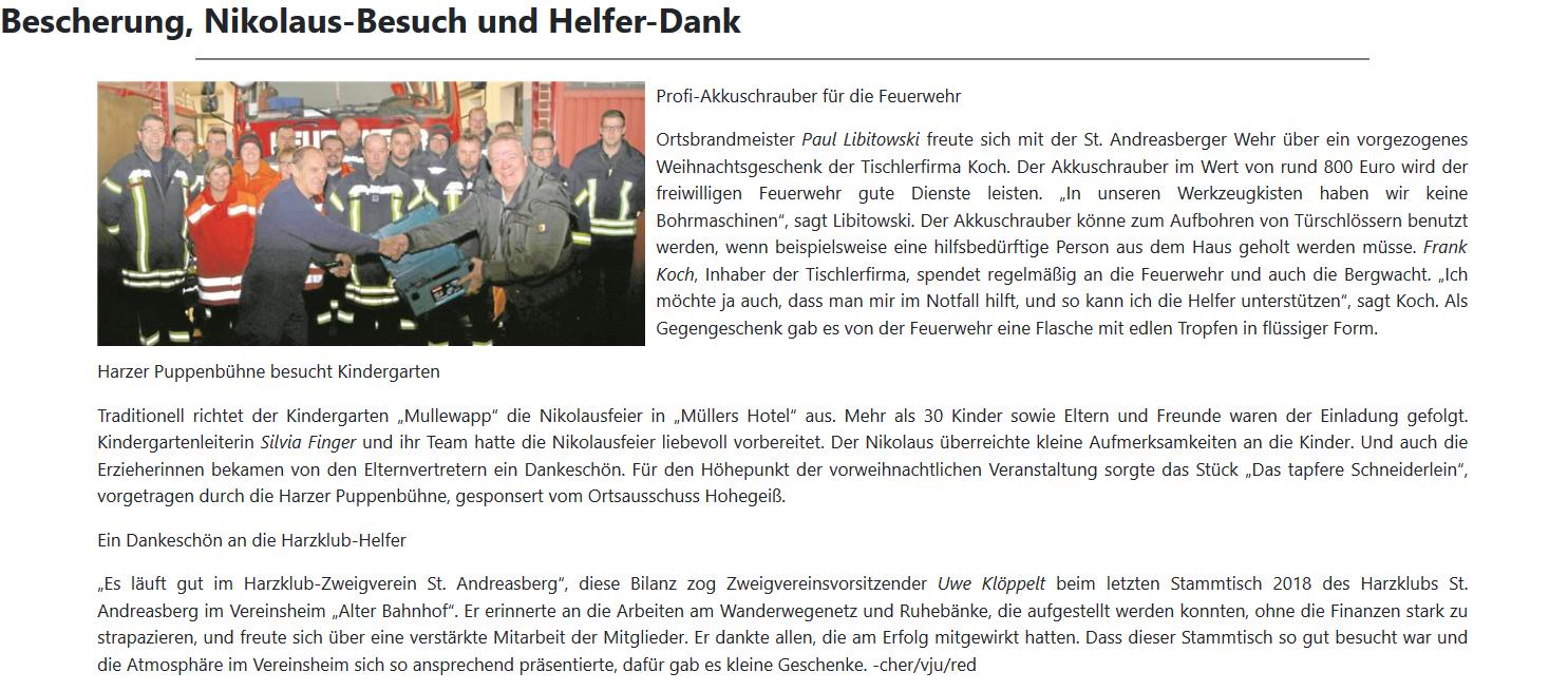 Profischraube für die Feuerwehr St. Andreasberg